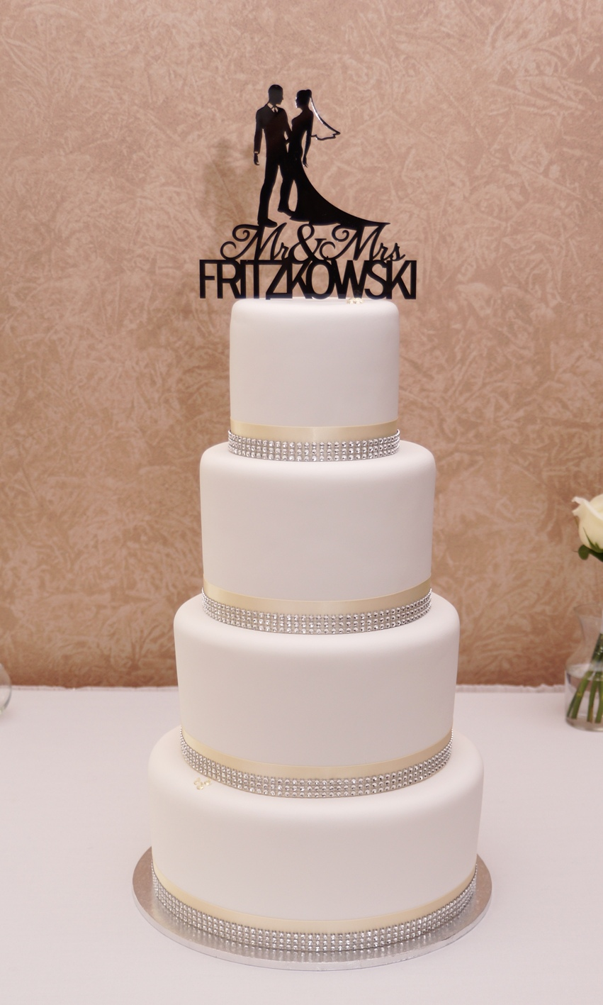 4 Tier White Fondant with Ivory and diam