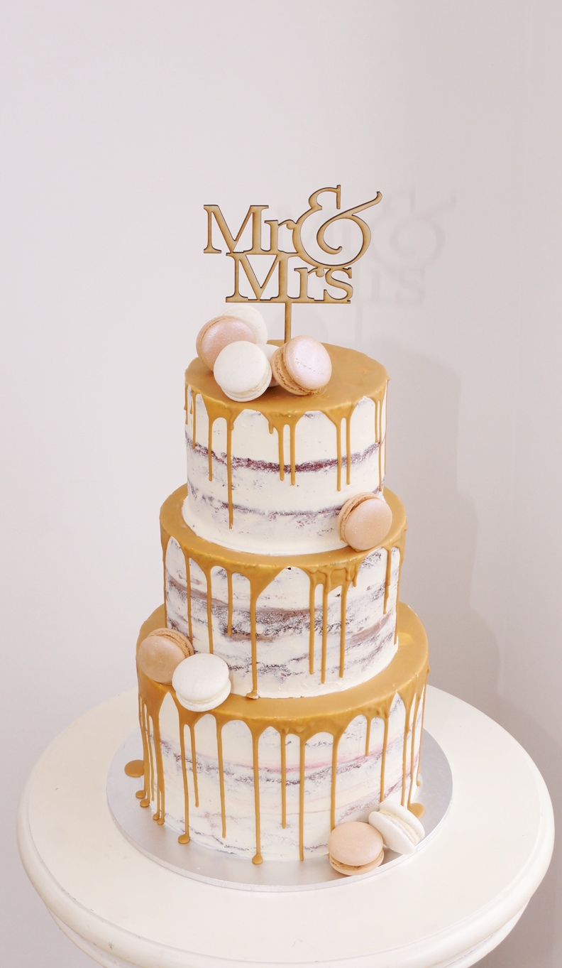 3 Tier Semi Naked with caramel drip and
