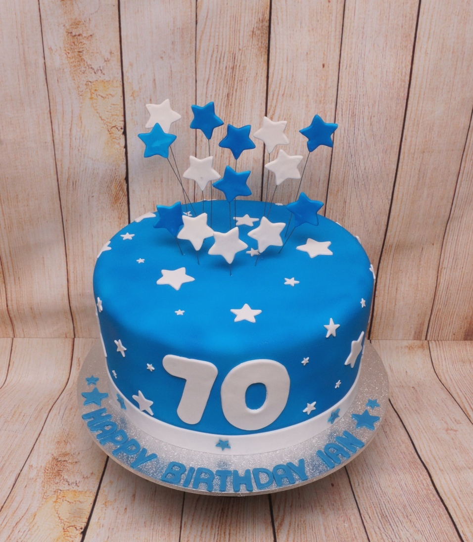 Blue 70th Birthday cake with stars