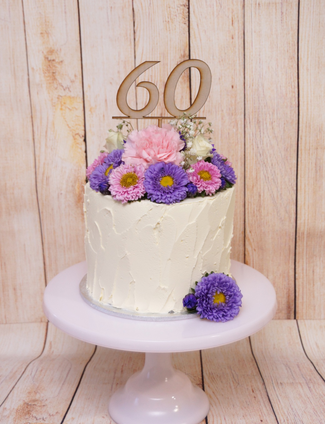 1 Tier textured buttercream with pink &