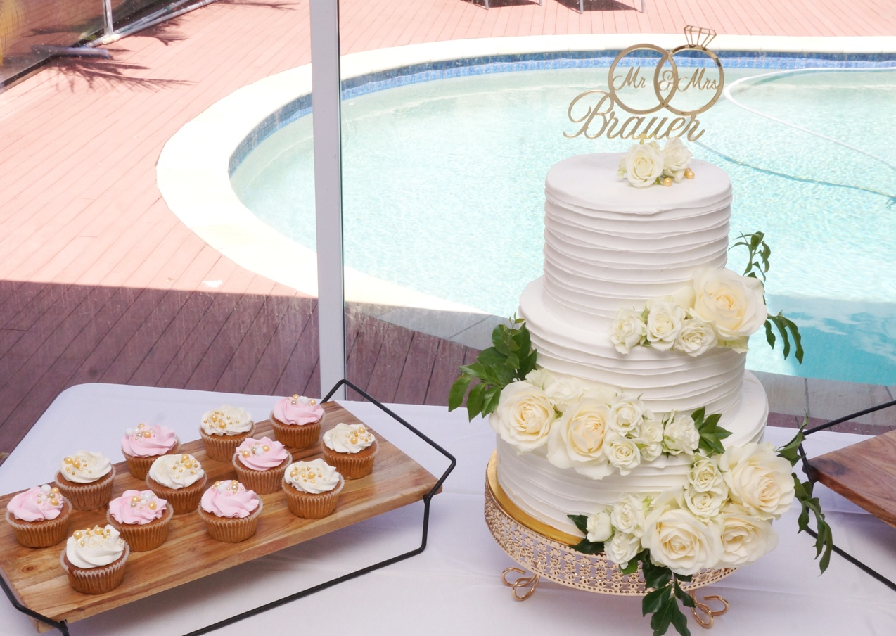 3 Tier Lined white buttercream with fres