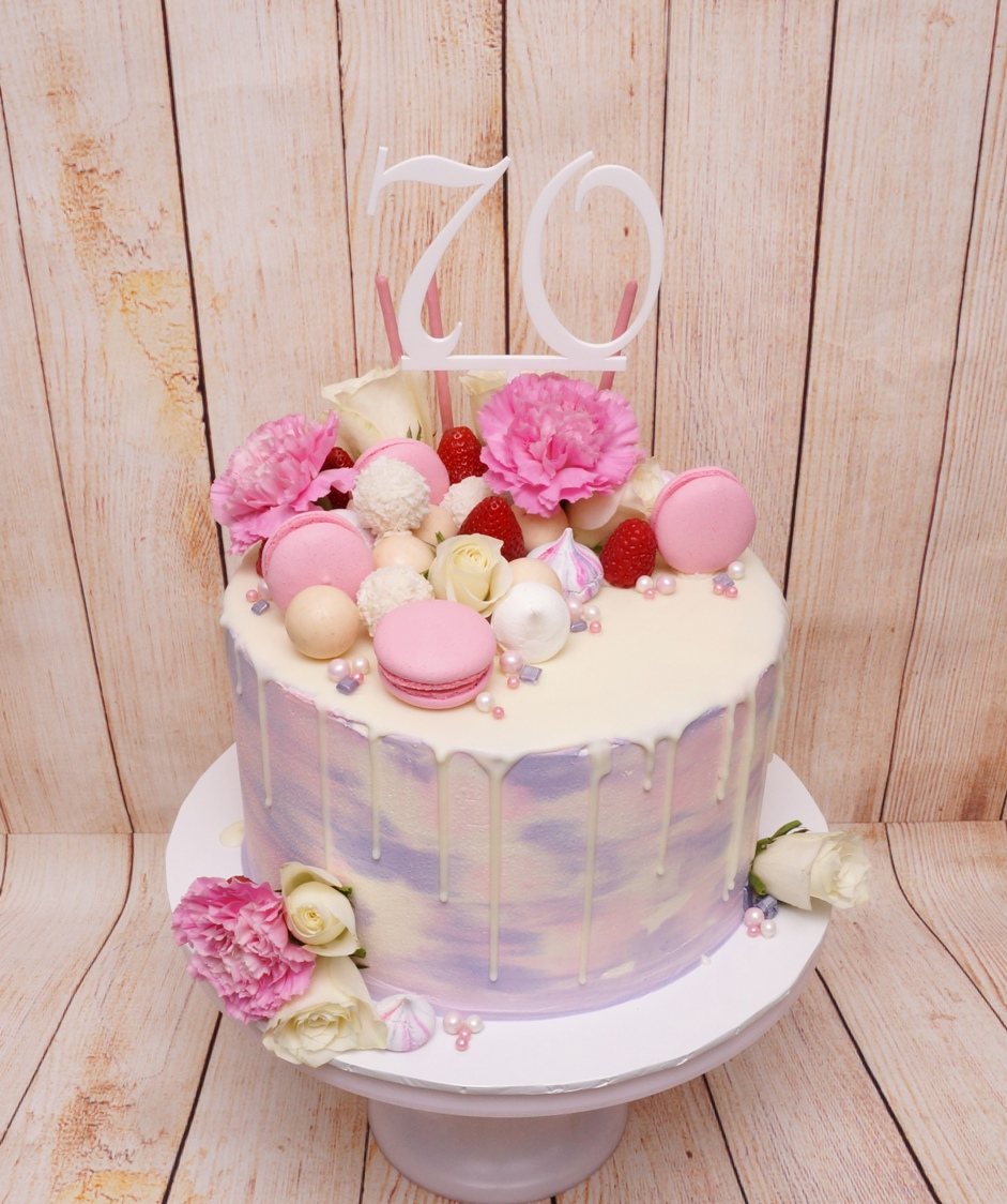 1 Tier pink & mauve marble buttercream w