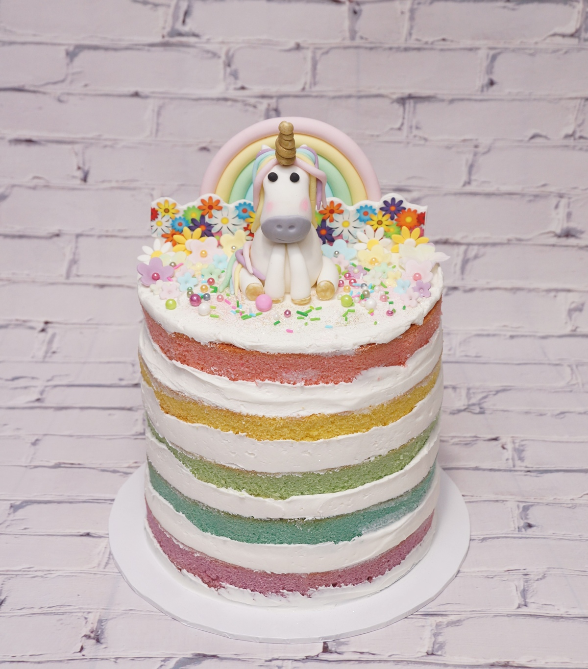 Rainbow Unicorn Cake with Flowers 1