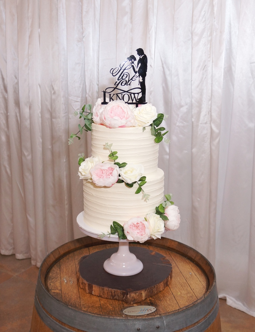 2 Tier Lined Buttercream with Silk Flowe