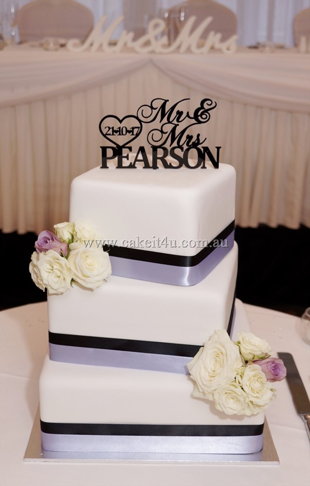 Square Lilac and Black Wedding Cake with Fresh Flowers 2