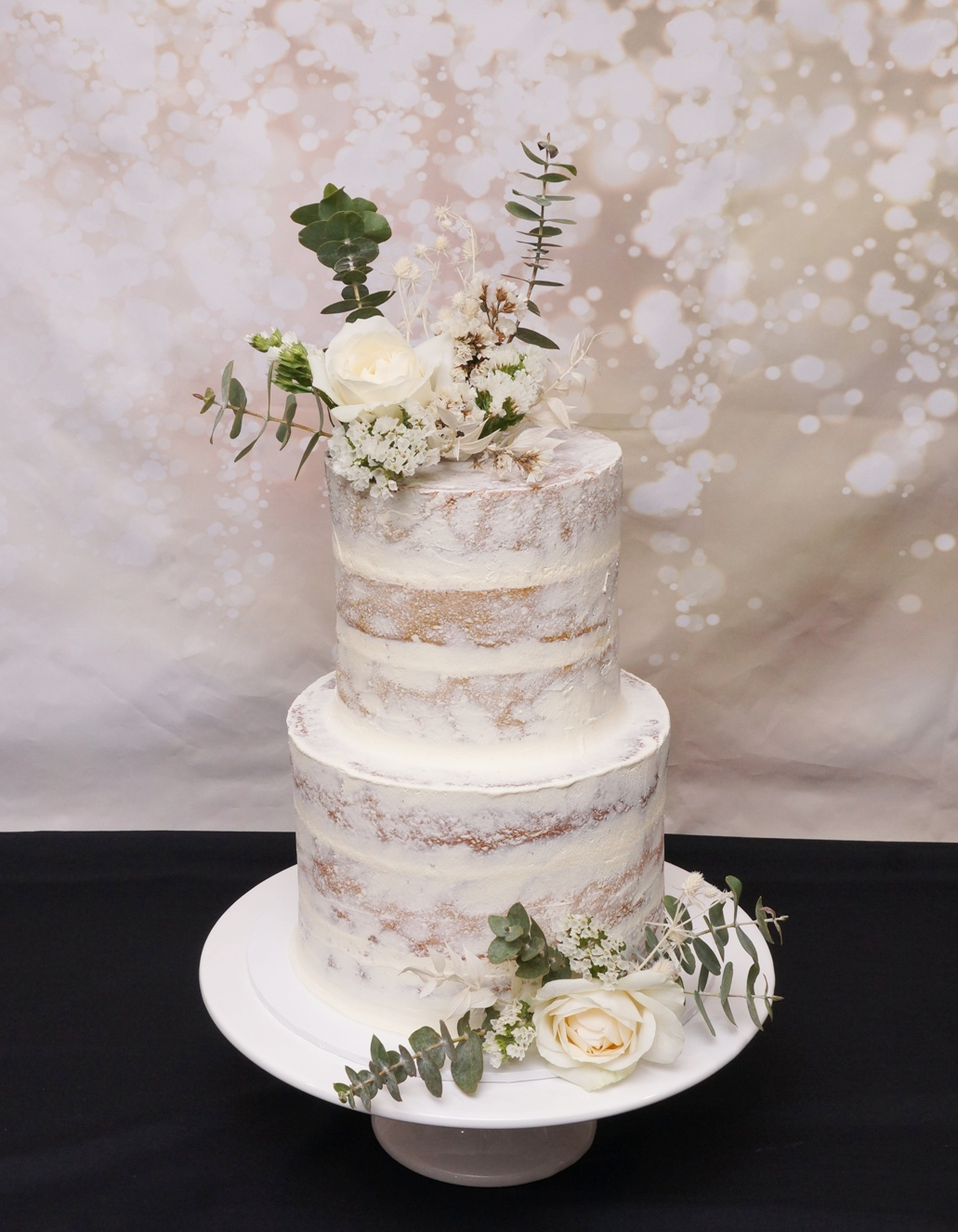 2 Tier Semi Naked with fresh White flowe