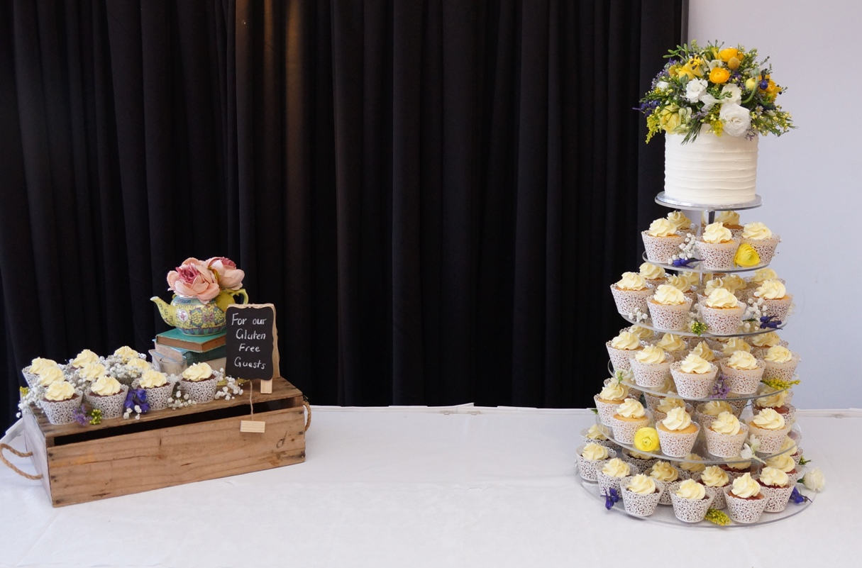 Cupcakes Tower with cottage flowers 3