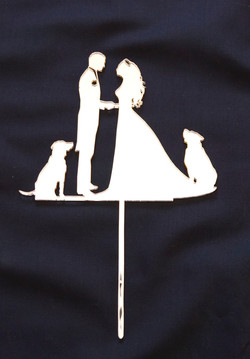 Gold Mirror Couple with Dogs