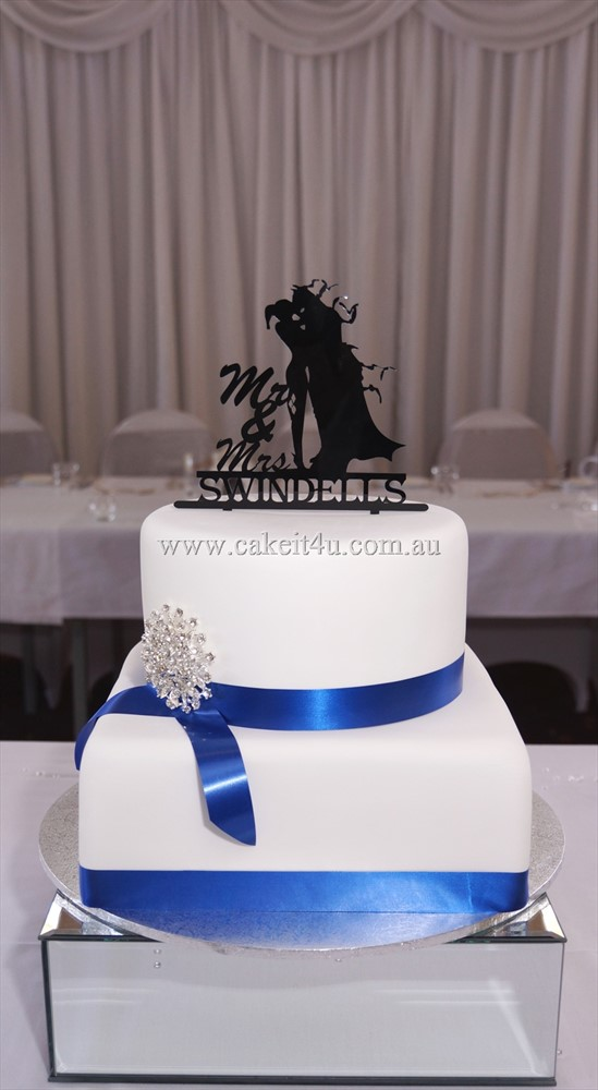 2 Tier White Fondant with Blue ribbon 1