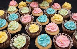 Pastel pink, green, yellow & blue cupcak