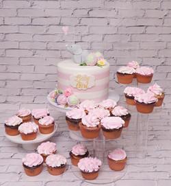 Pink & White stripe baby shower cake wit