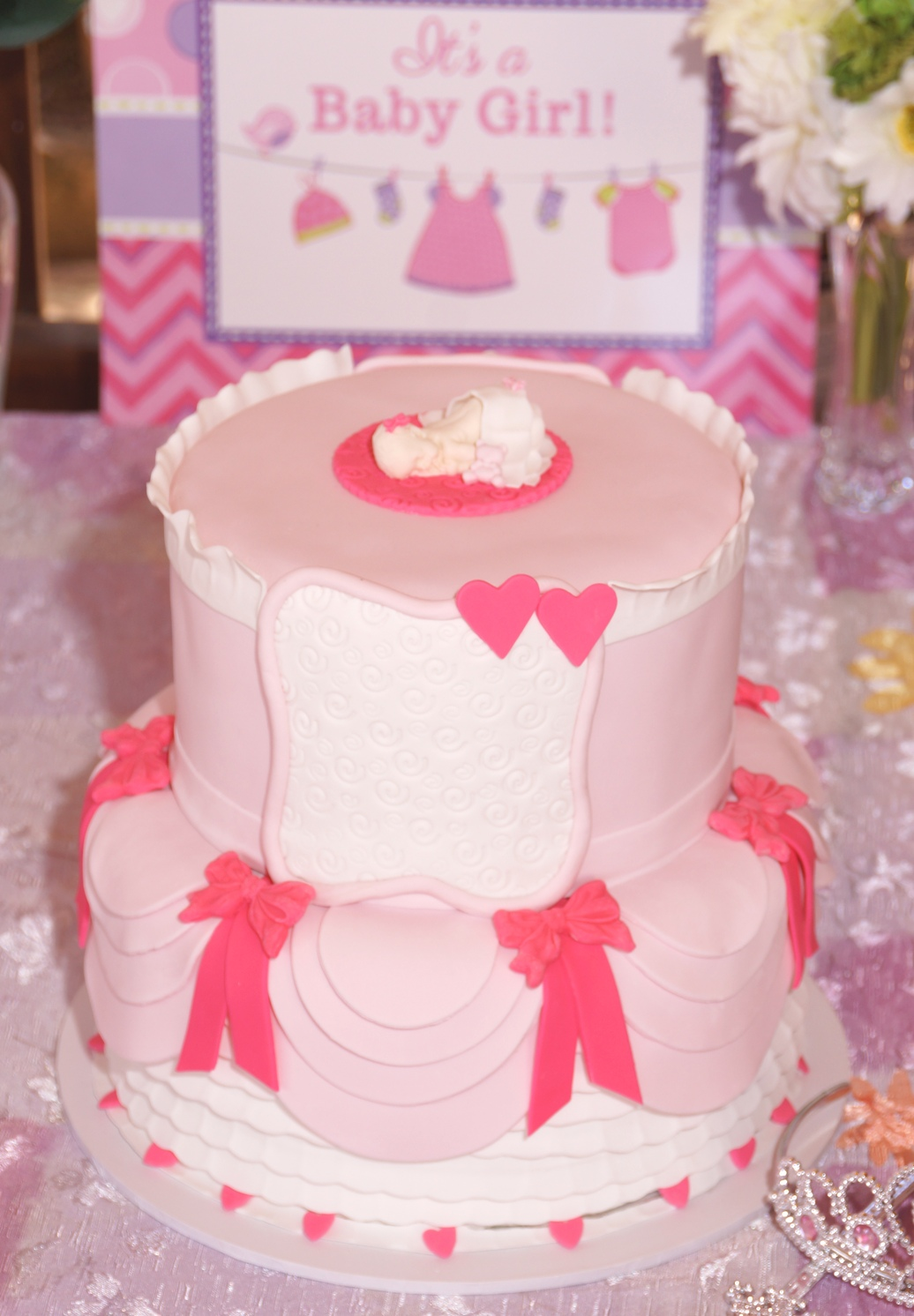 Pink & White Dress Baby Shower Cake with