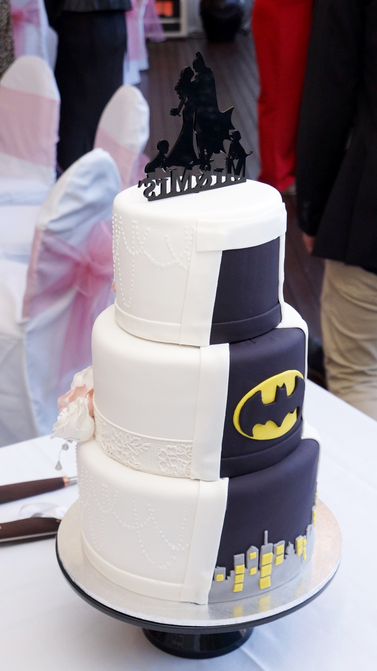 Half White Half Batman Wedding cake with