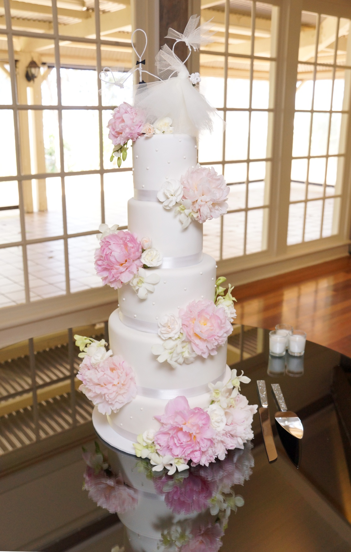 5 Tier white fondant with pink peonies 1