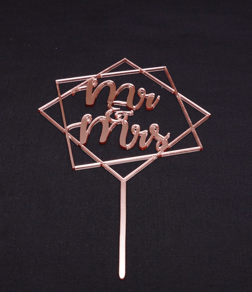 Rose Gold Mirror Mr & Mrs Geometric 2