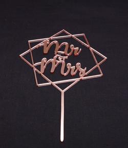 Rose Gold Mirror Mr & Mrs Geometric 2