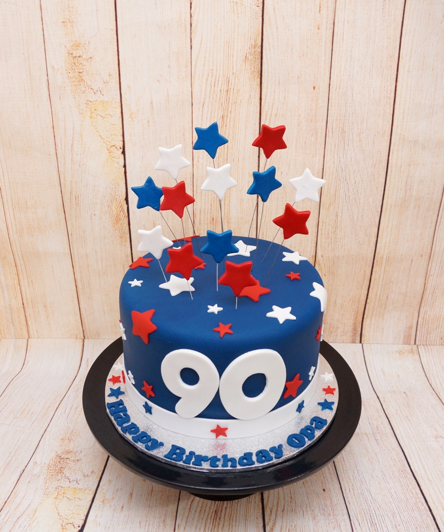 Blue white & red 90th Cake with Stars