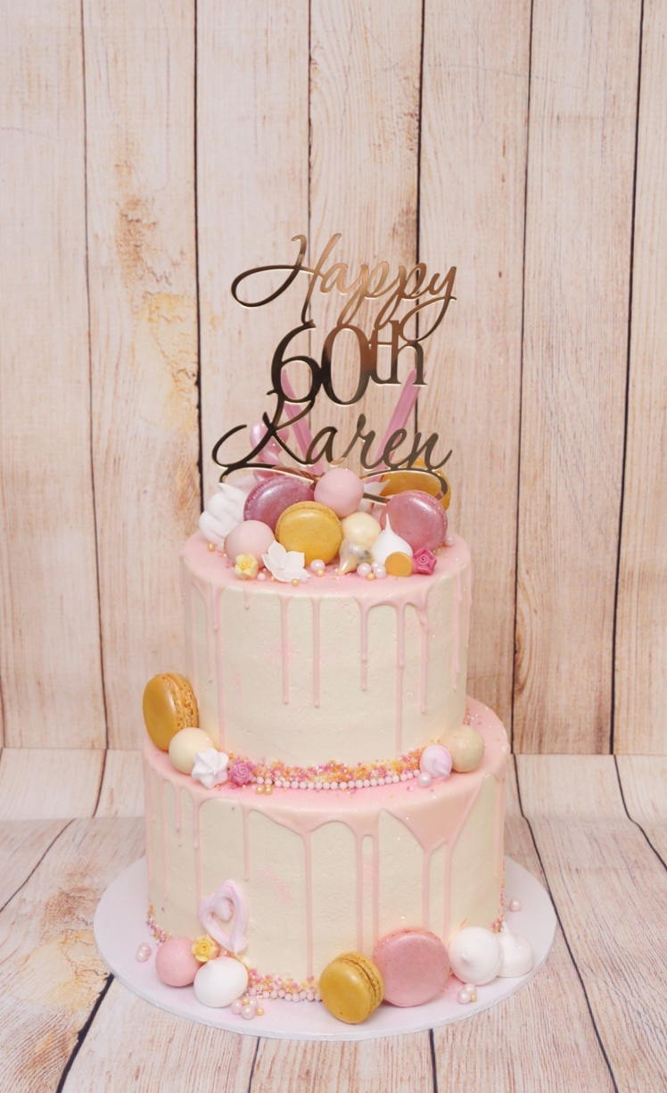 2 Tier smooth buttercream with pink drip