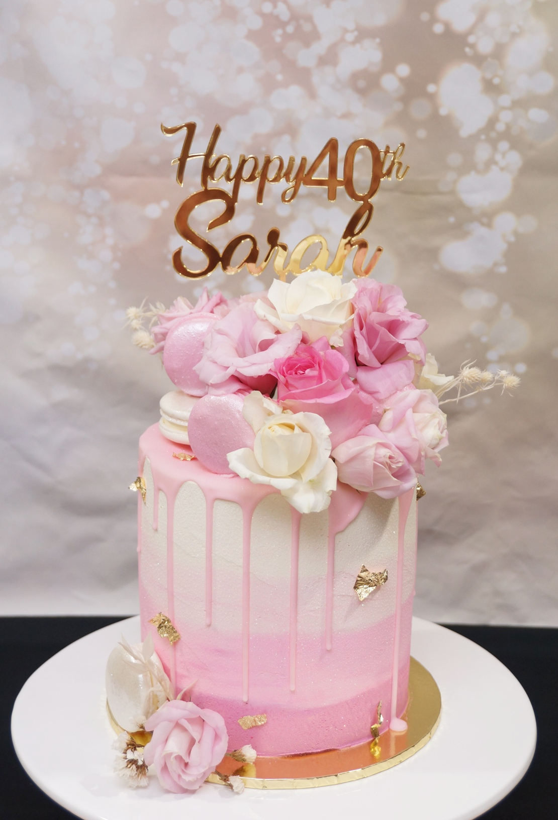 Pink Ombre Buttercream with fresh flower