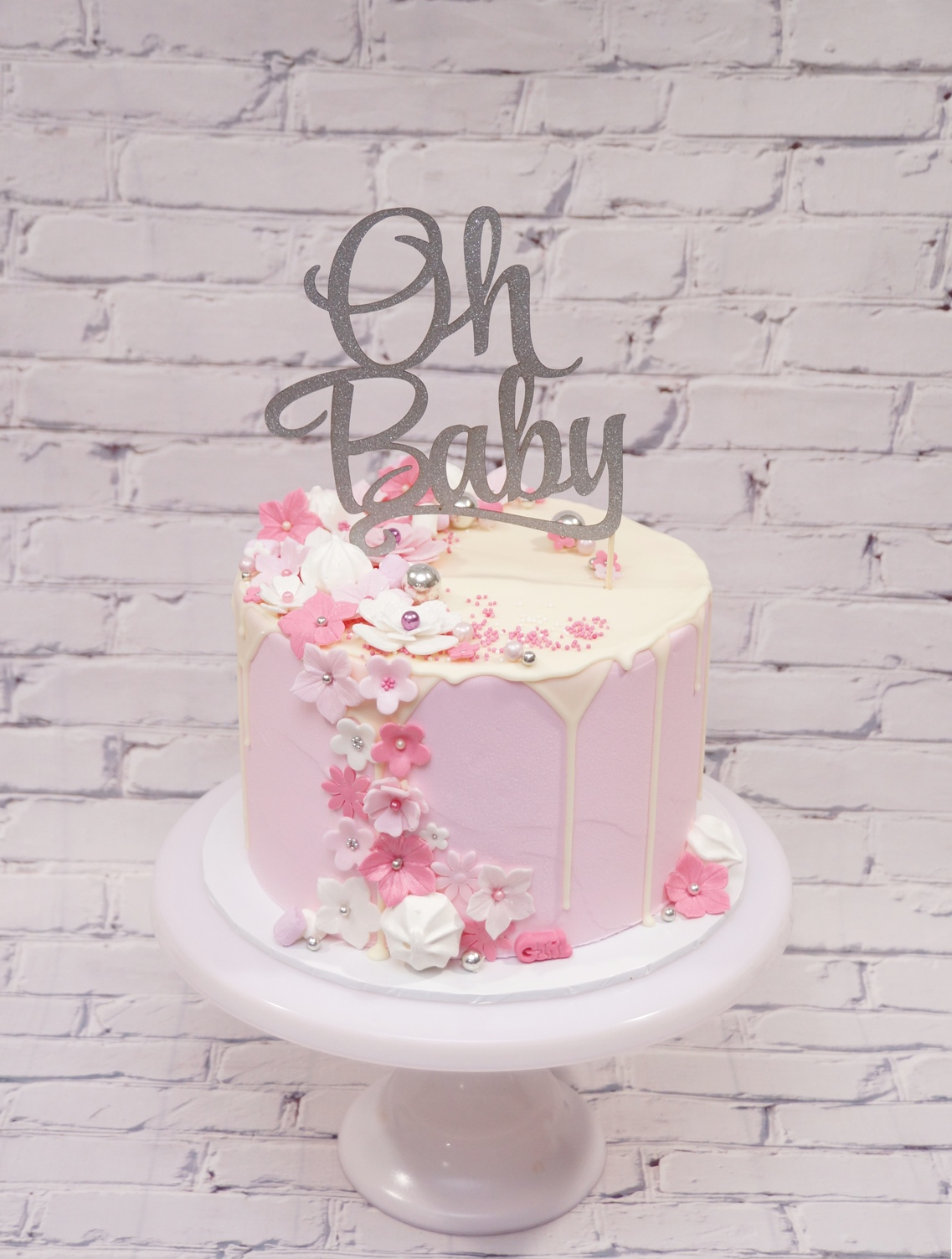 1 Tier Pink Baby  Shower Cake with Merin