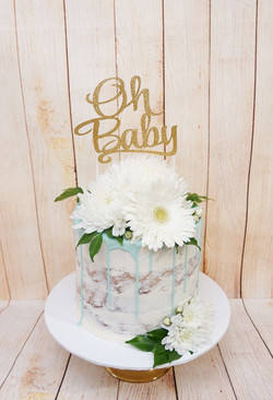 1 Tier Semi Naked buttercream with blue