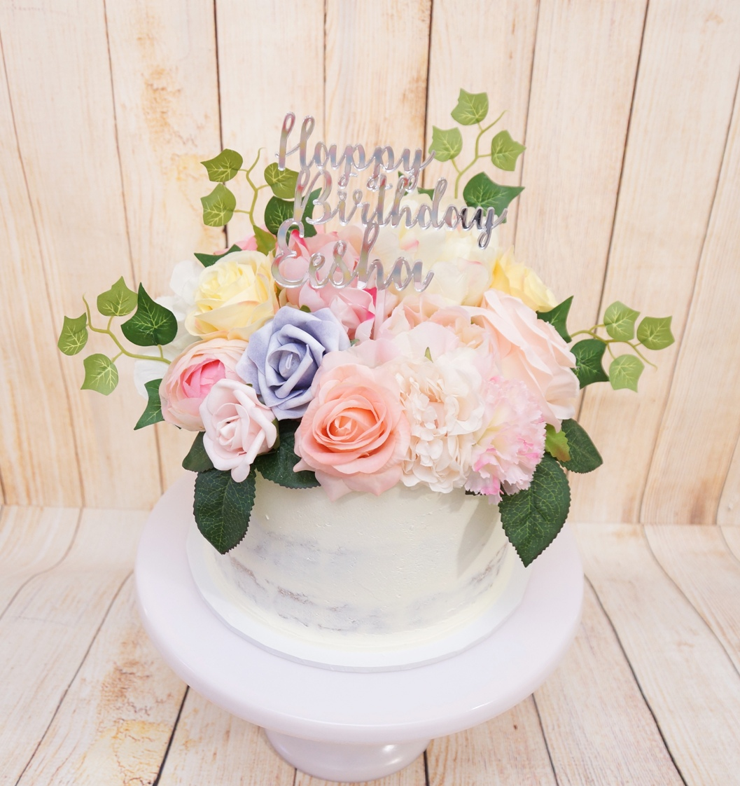 1 Tier Semi Naked with Silk pastel flowe