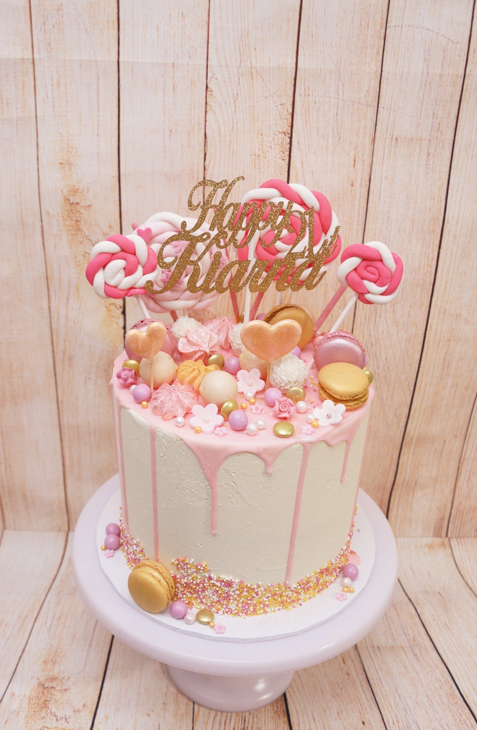 1 Tier Pink and gold with lollipops and