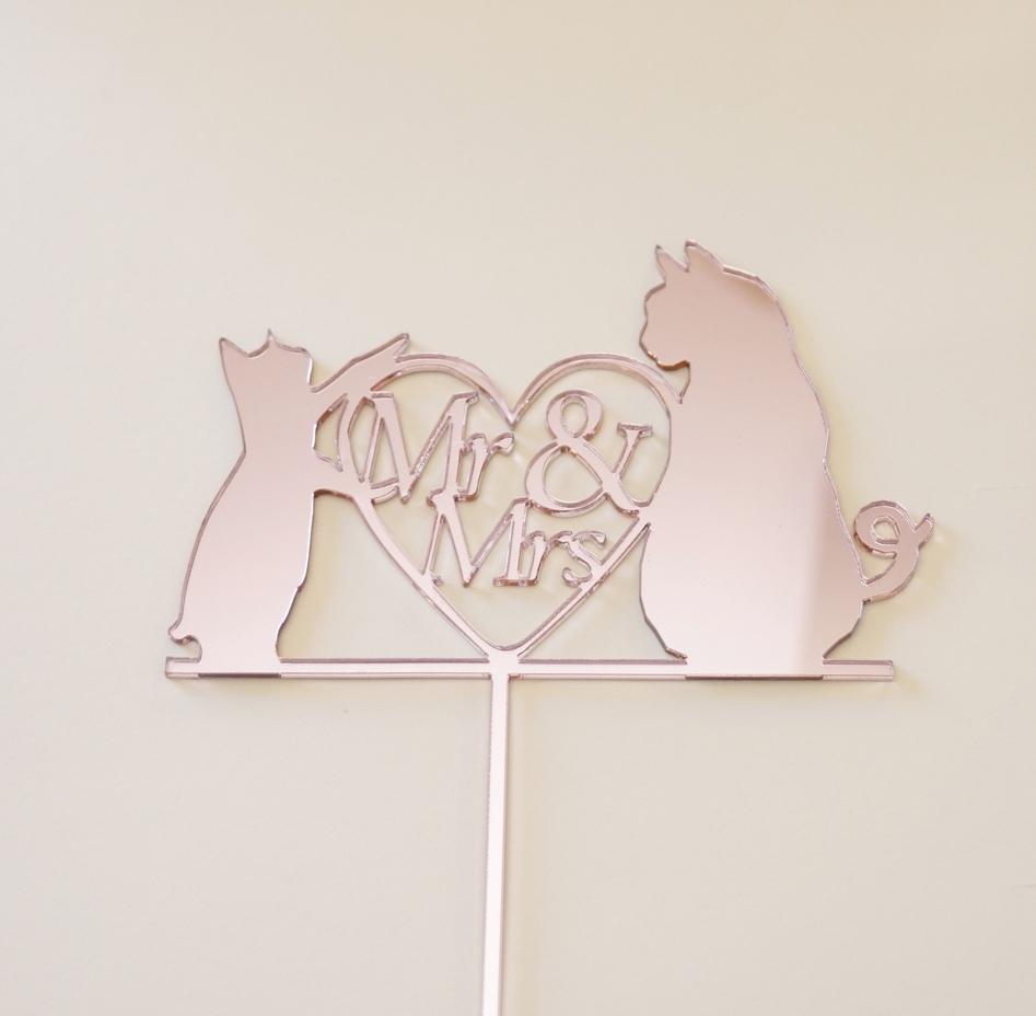 Rose Gold Mirror Mr & Mrs with Cats