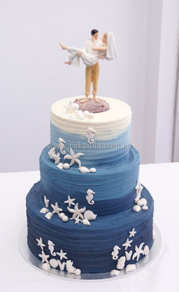 3 tier Navy Ombre beach cake 1