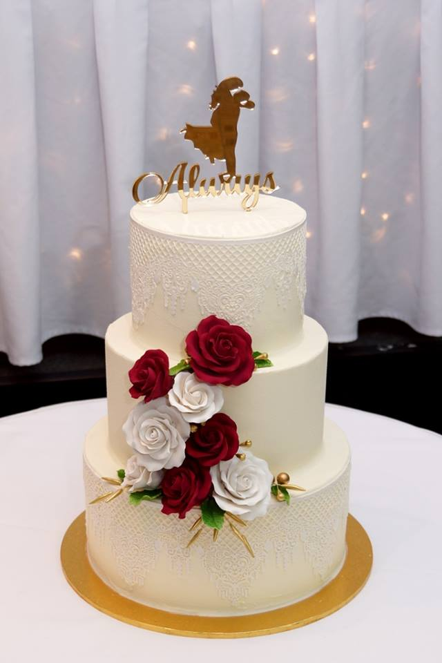 3 Tier Whie butterrcream with sugar lace