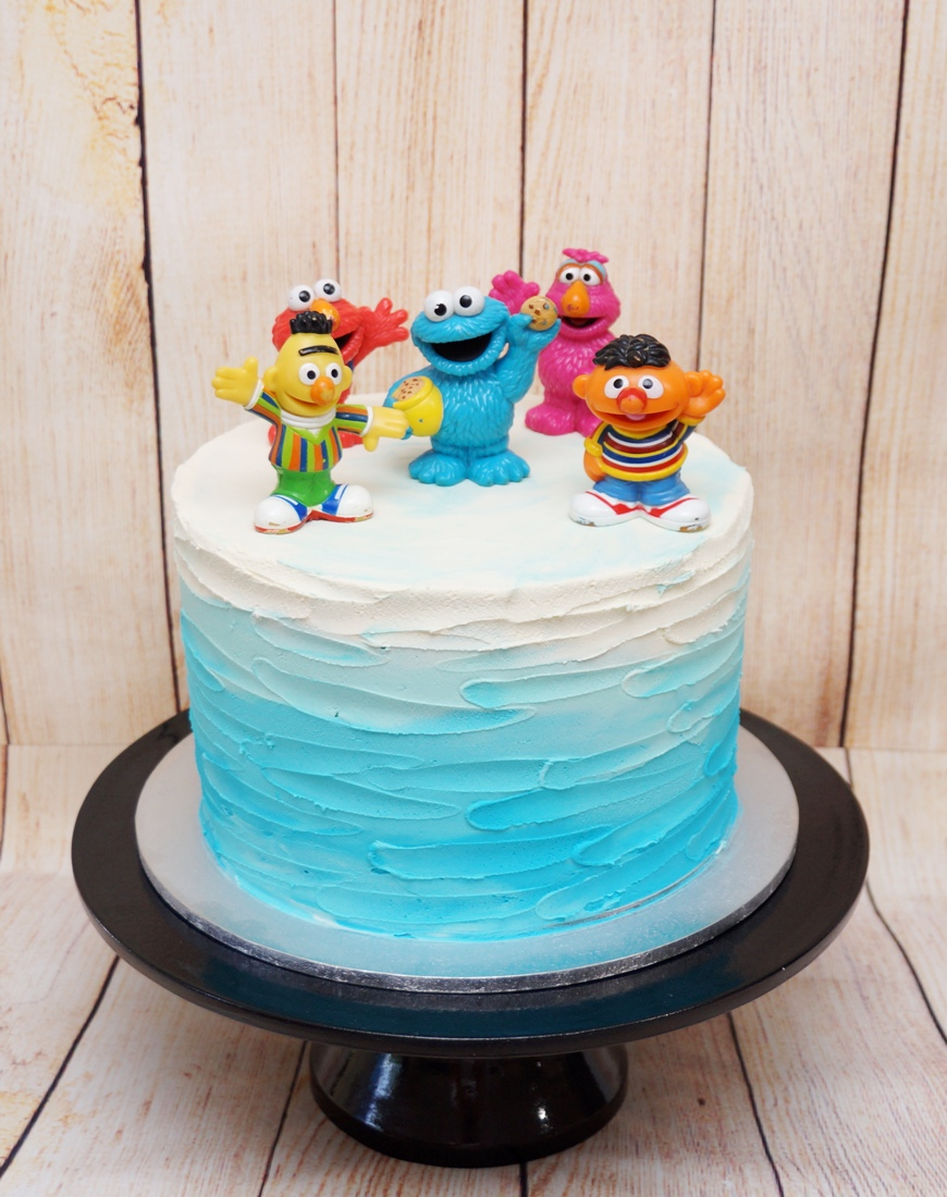 Blue Ombre Buttercream cake with Sesame