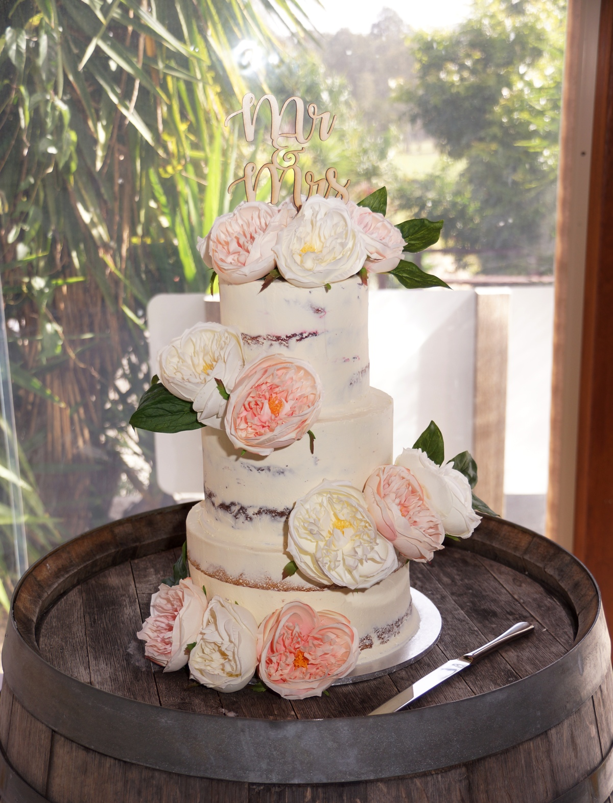 3 Tier Semi Naked with pink & White silk