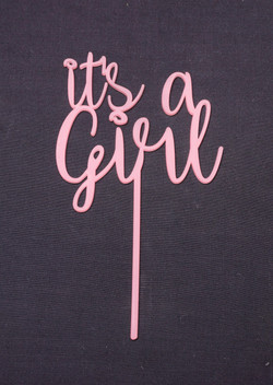 Pink Acrylic It's A Girl Topper