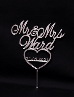 Mr & Mrs with date in heart - Silver Mir