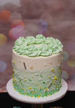 Pale Green & lemon Baby Shower cake 1