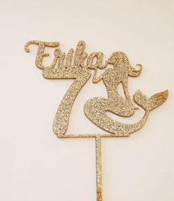 Gold Glitter Acrylic Erika 7 with Mermai