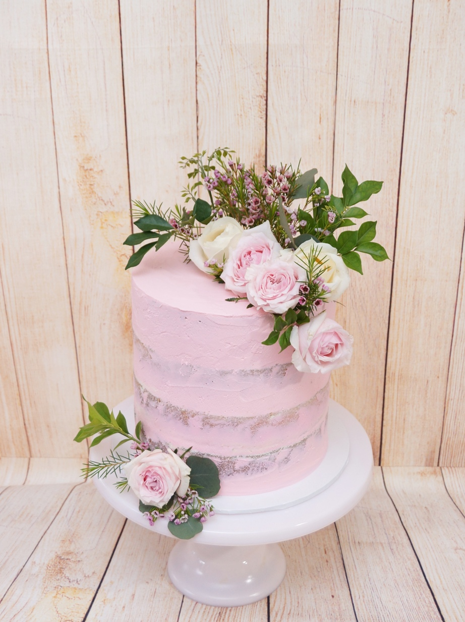 1 Tier Pink Semi Naked Buttercream with