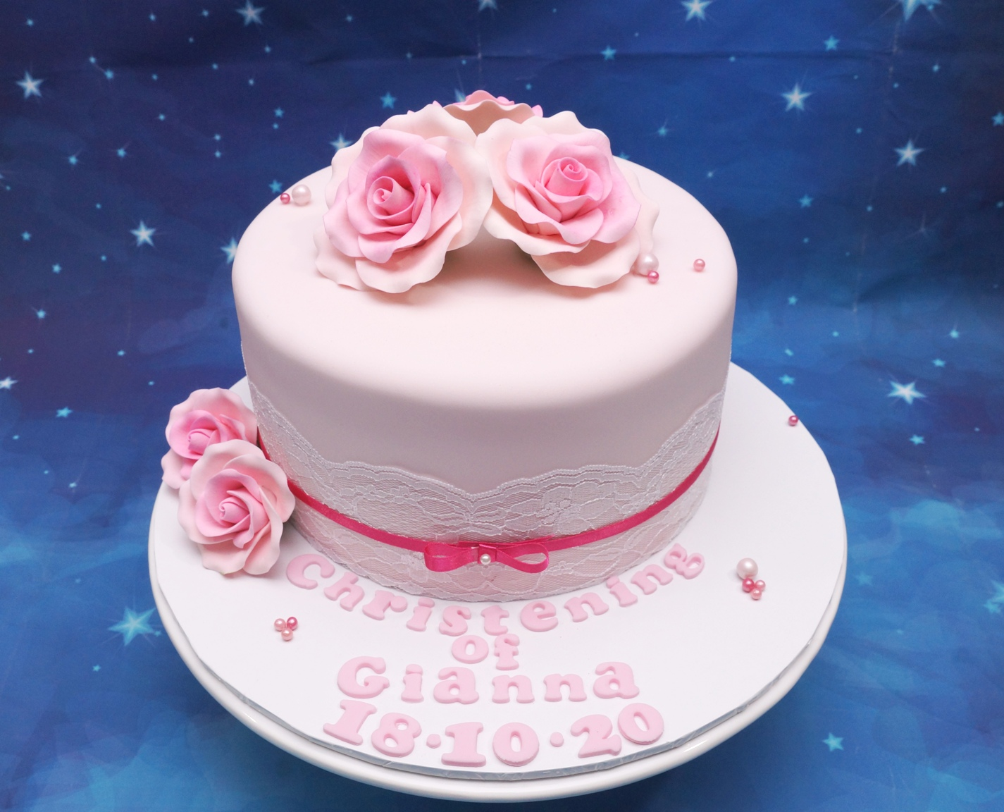 Pink Fondant with Pink Sugar Roses Chris