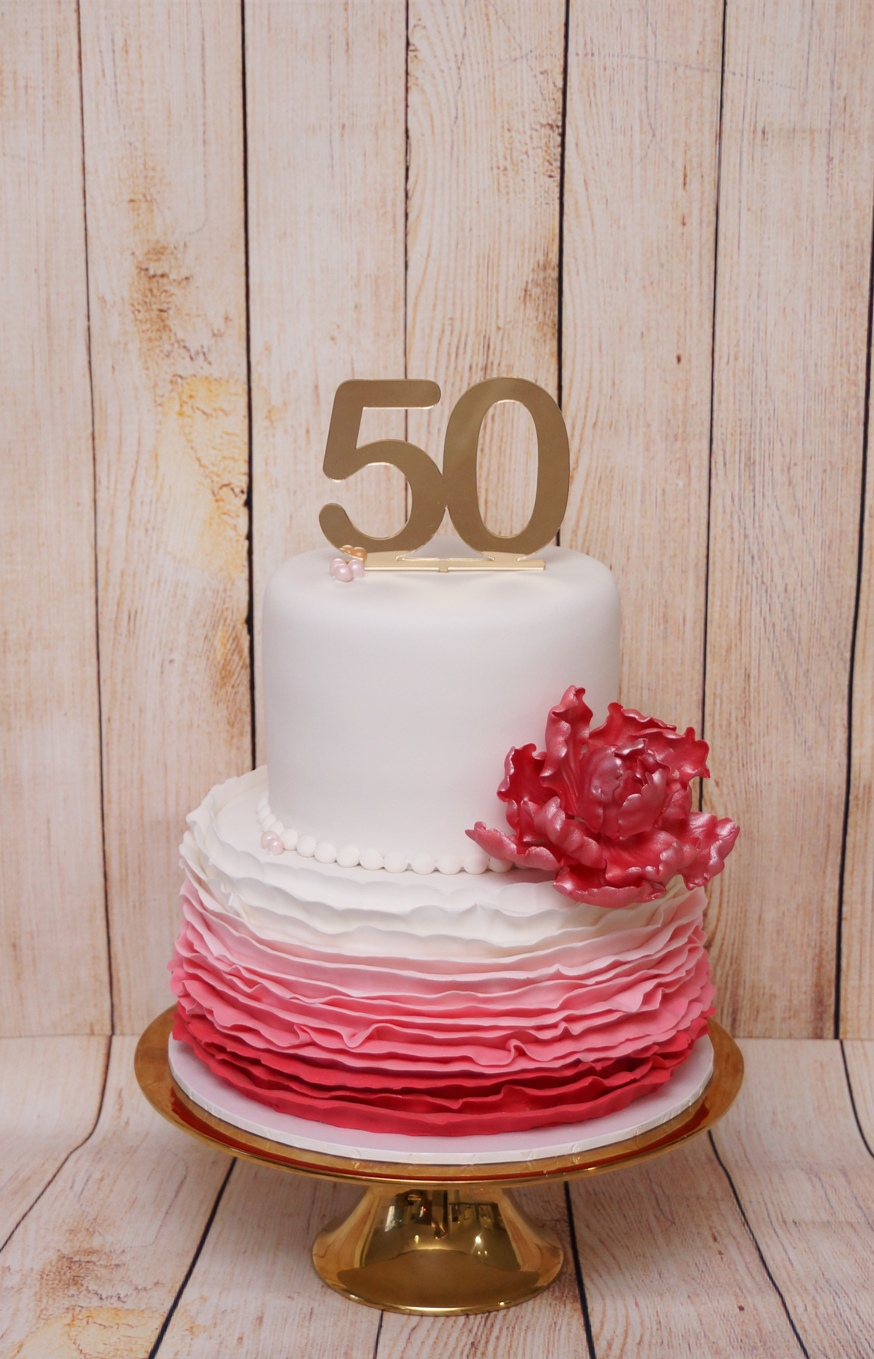 2 Tier white with coral pink ruffles and