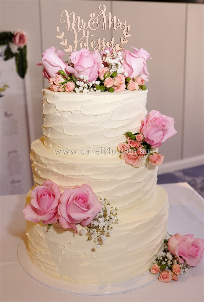 3 Tier rustic buttercream with fresh flowers 9.09.17 1