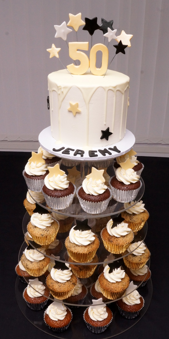 Black Gold and Silver cupcake tower 1