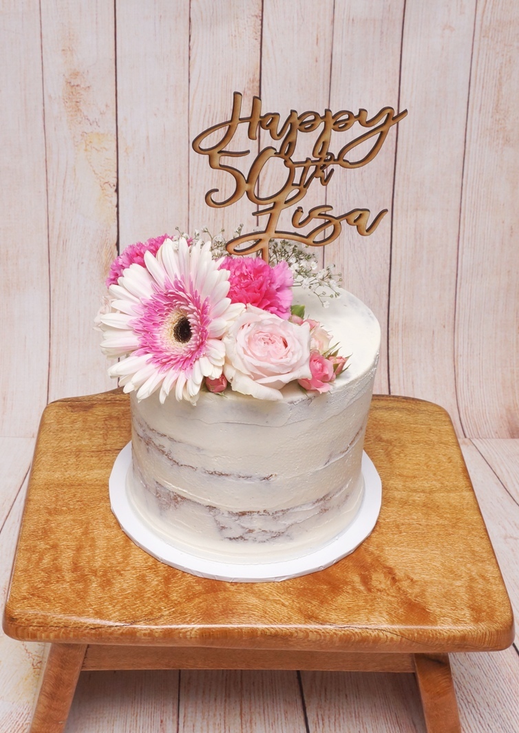 1 Tier Semi Naked Buttercream with fresh