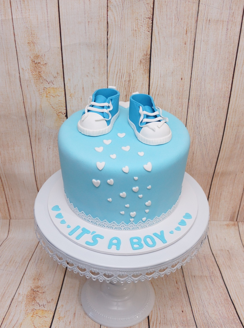 Blue Baby shower cake with blue Converse