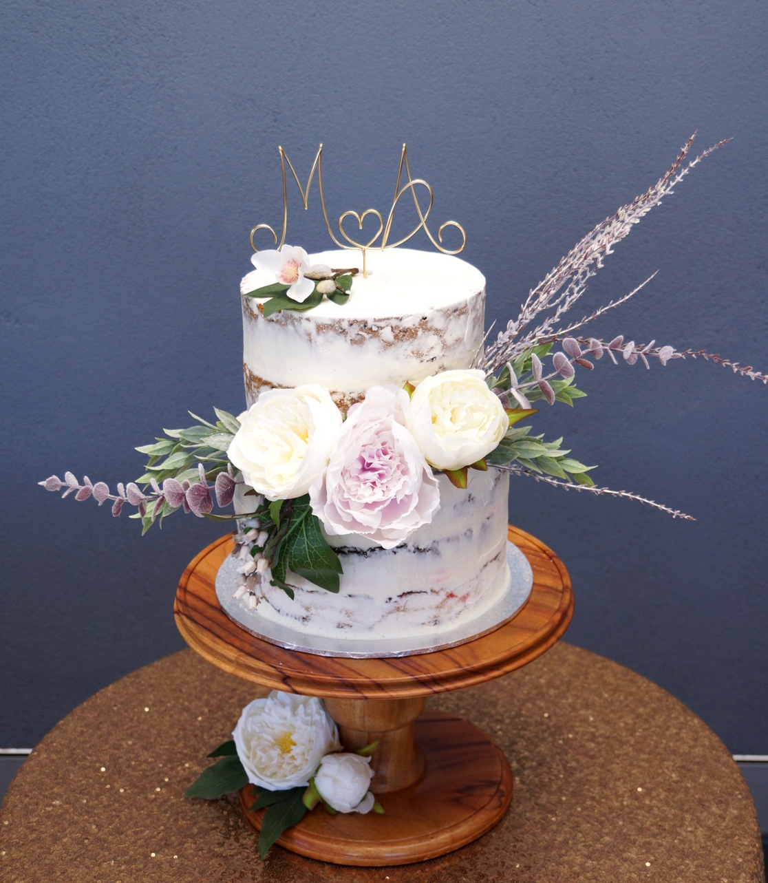 2 Tier Semi Naked with silk flowers