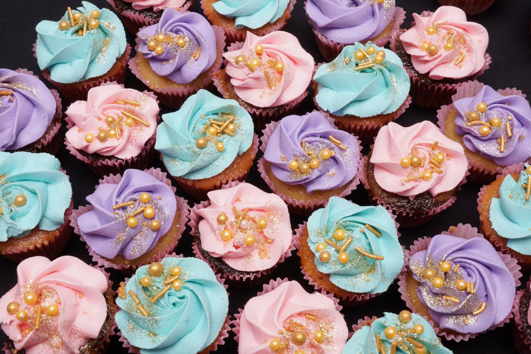 Pink, Purple & Blue Mini Cupcakes 2