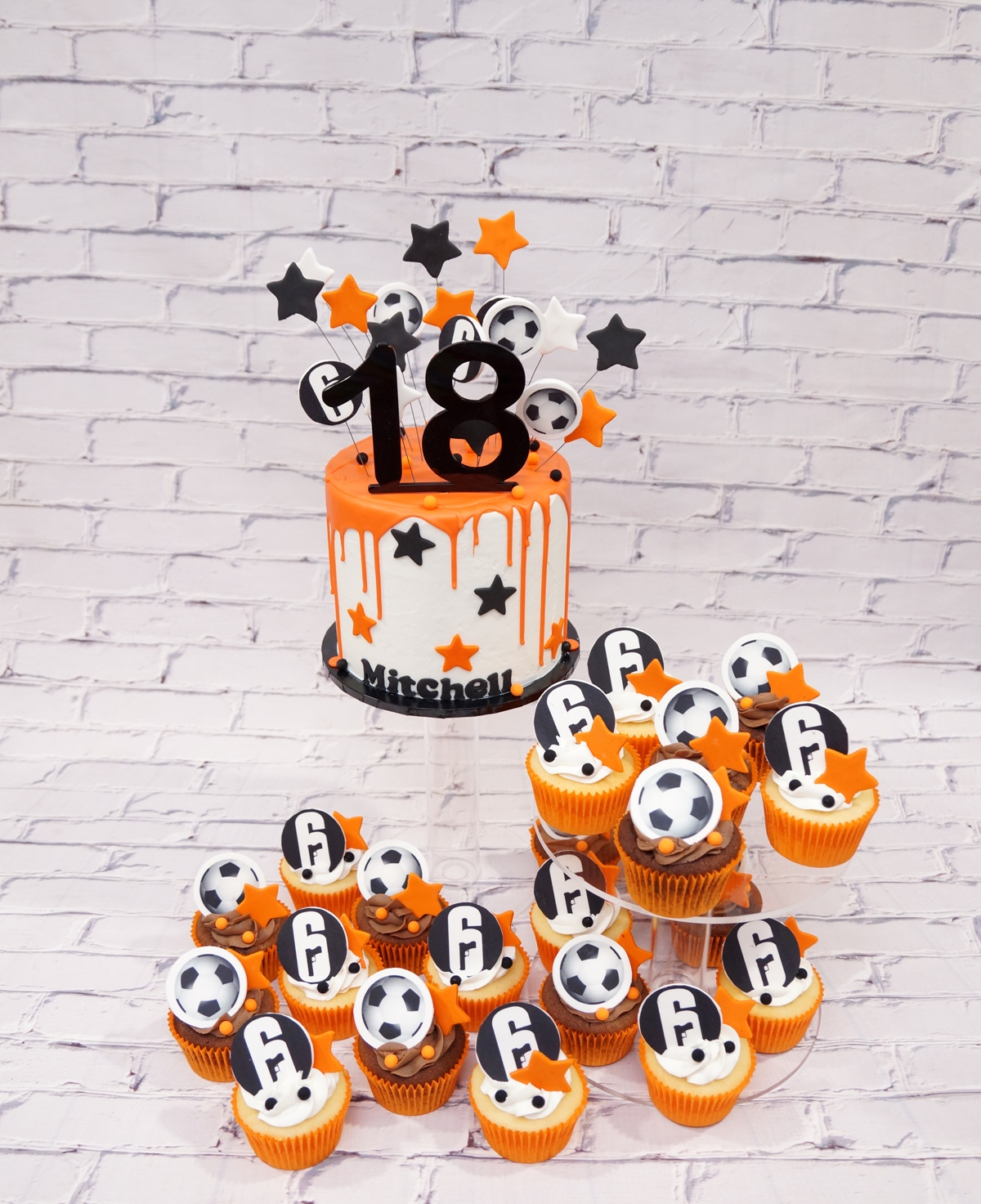 Orange Black & White Cupcake Tower 2