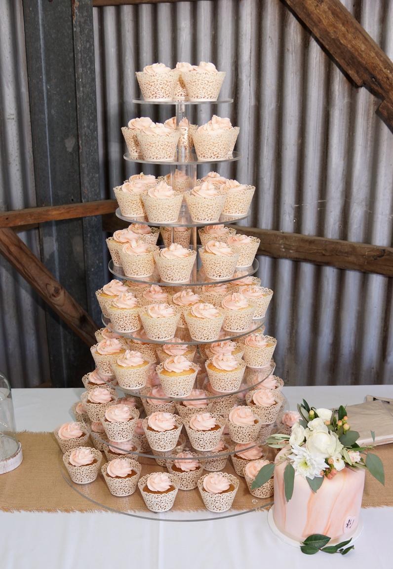 Peach Cupcake Tower 1