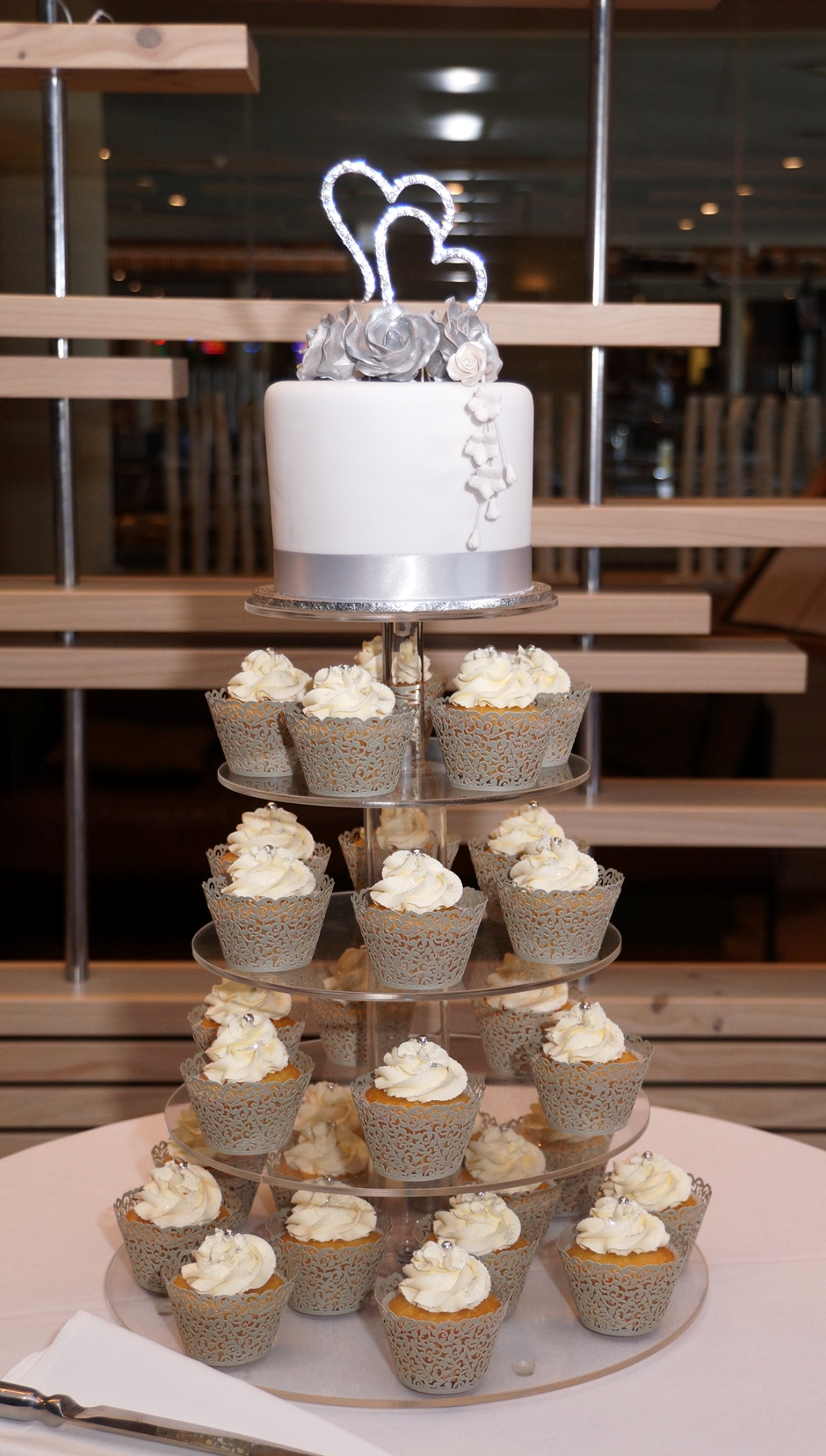 White & Silver Cupcake Tower