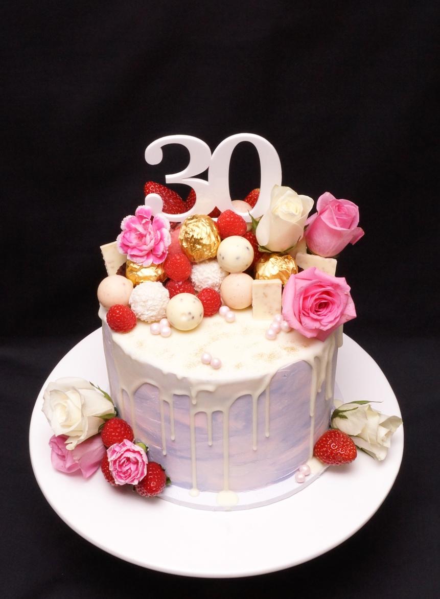 Pink & Mauve Chocolate Drip cake 3