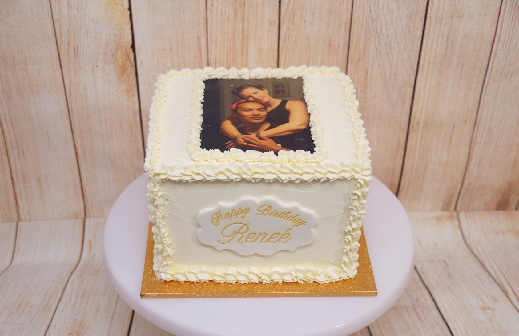 Square Buttercream cake with photo